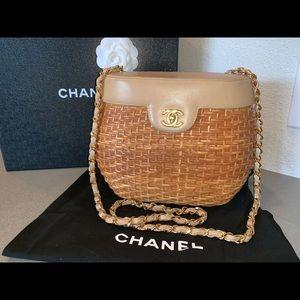 Authentic Chanel rattan wicker straw basket bag